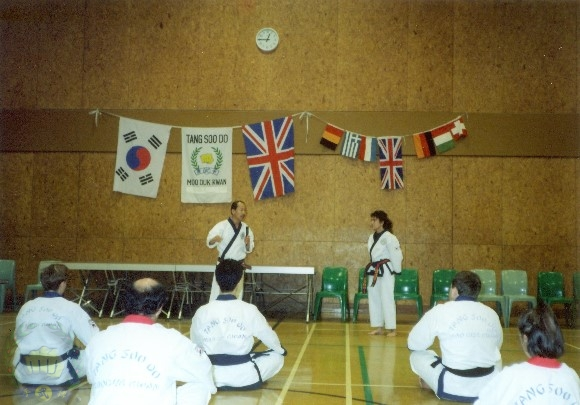 Clinics with H.C. Hwang (509) in England. Sandra Russell (21351) is assisting