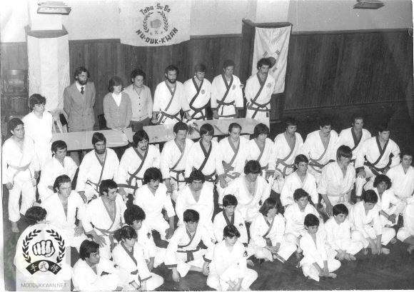 Moo Duk Kwan members in Buenos Aires in Argentina during 1978. Roberto Villialba (16519) is standing at the center of upper line.