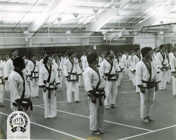 During the begining ceremony of the 1st US National Championship which was held at Concord Hotel in Monticello, NY in 1978. HC Hwang, CS Kim(2457), YM Lee(5562), MA Walsh(17926), A Pryor(16505) are shown in the photo.