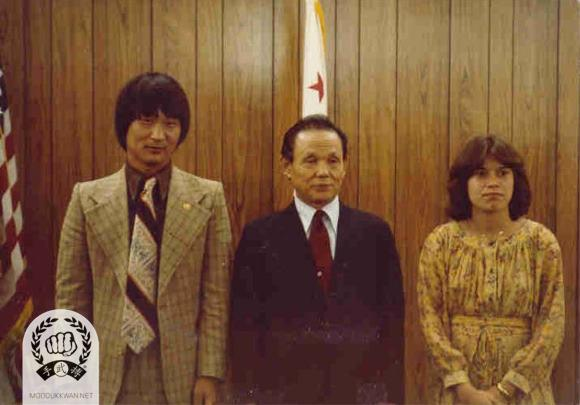 The founder's visit to Santa Barbara, CA. Jong Sook Lee () and Marlene Kachevas (20786) are with the founder.
