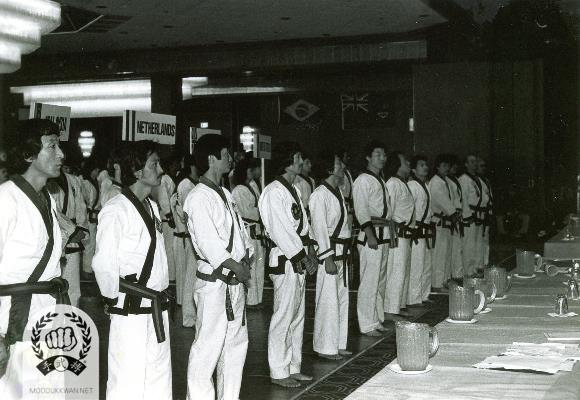 Beginning line up at the 4th Internationals in Atlantic City, NJ. Tong Mun Kim (3167), Sung Duk Cho (8013), Hong Rae Kim (8914), Beom Ju Lee (11870) are shown in the front line.