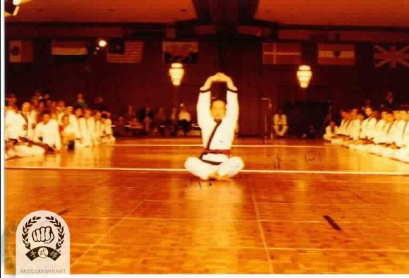 The founder is performing Do Ki Ryong Seh from the Hwa Sun Hyung at the 4th Internationals.