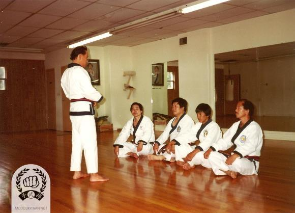 Founder's Chil Song Hyung Clinic in Springfield, NJ. USA during 1983. From Left; Kang Uk Lee (70), Wha Yong Chung (410), Chung Il Kim (475), and HC Hwang (509).