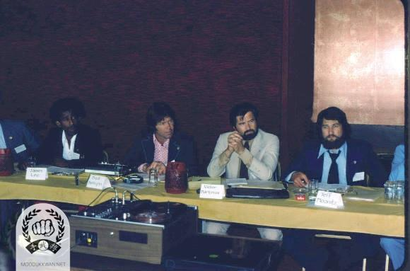 From left; James Lee (14317), Fred Kenyon (14345), Victor Martinov (10189), and Jeff Moonitz (17650) at the 1975 Charter Convention for the US Federation.