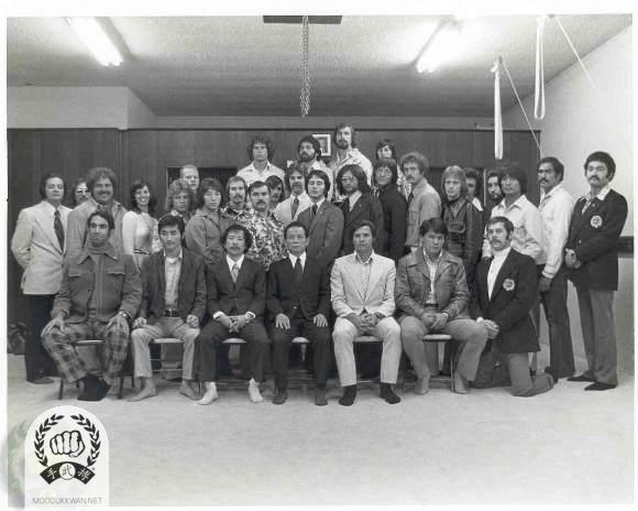 The founder's visit to Torrance, California in 1975. Seated; Victor Gurrella (), Micky Yamasita (18099), HC Hwang (509), The founder, Vic Martinov (), Jerry Taylor (10736),