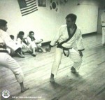 Master Eugene Perceval on the left sparring Vincent Nunno on the right, at the West Village Karate Club, in NYC, 1964-65