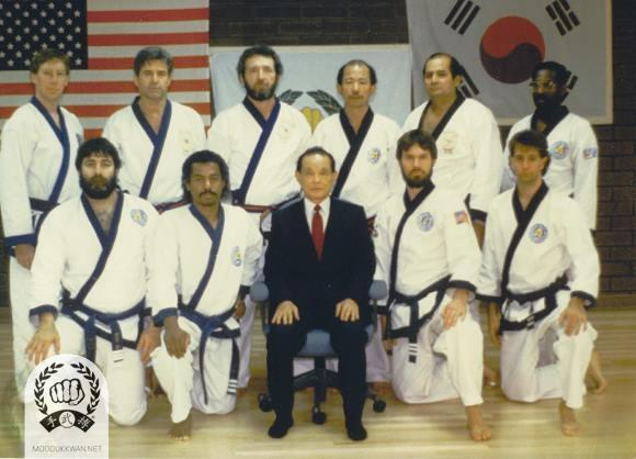 Candidates from the 3rd Ko Dan Ja Shim Sa with the founder. 6th Dan candidates: A Ahpo(10187), V Martinov(10189). 5th Dan candidate: W Bennett, Jr.(19027). 4th Dan candidates: F Schermerhorn(19787), D Southerton(19192), C Ferraro(19986), Y Seo(20564), P Bartoracci(20571).