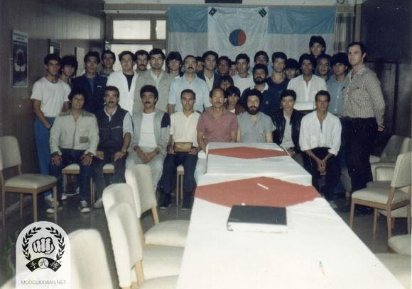 The first meeting for the Argenina National organization during the founder's first visit t in 1987. Seated from left: ??, Jose Blotta (20557), Rafael Blotta (21469), Francisco Blotta (19455), HC Hwang (509), Hugo Nami (22050), Roberto Fernandez (22294), Daniel Marrona (20561).