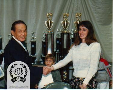 At the 10th US Nationals The founder is meeting with Pilar Guzman from Mexico in 1988
